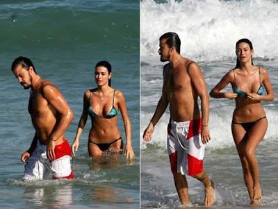 Thaila Ayala e Paulo Vilhena na praia juntos