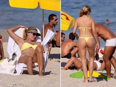 Miryan Martin quase paga peitinho na praia