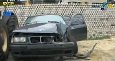 Carro batido de Jackeline Petkovic após acidente de hoje