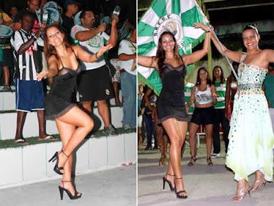 Micro-vestido: Nana Gouvêa cai no samba na Império da Tijuca