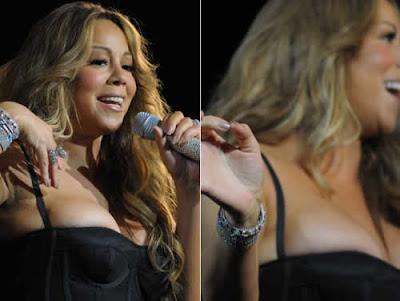 Seios de Mariah Carey quase escapa do vestido