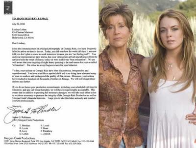 Lindsay Lohan leva bronca de produtor por carta