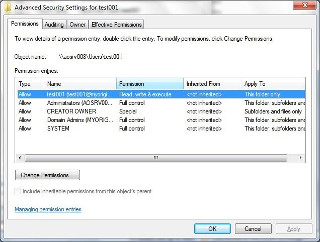 how to stop server users from moving folders permissions