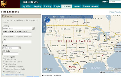 Using UPS Store Locator to search UPS Locations