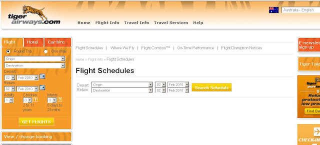 Tiger Airways Bookings, Flight Schedules & Status Online