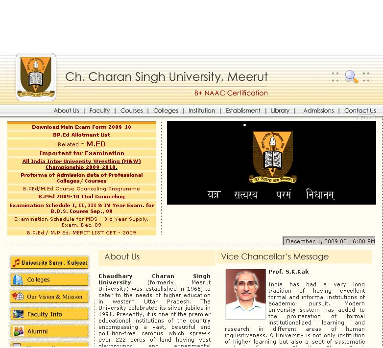CCS University Meerut DateSheet and Result 2009-2010