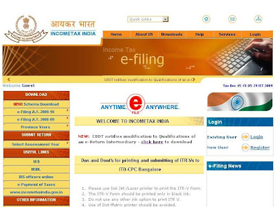 Income tax efiling india - Registration & Login to incometaxindiaefiling.gov.in website