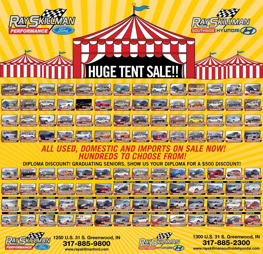 Ford Dealers In Indianapolis: Ray Skillman Ford & Southside Hyundai: HUGE Tent Sale