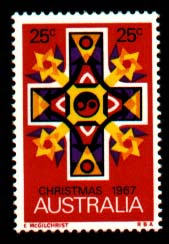 Yellow Stars of David on Australia 1967 Christmas stamp