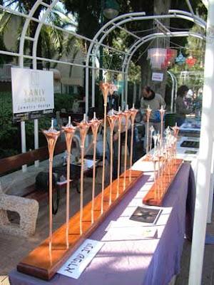 מנורות נחושת וכסף בצורת מגן דוד