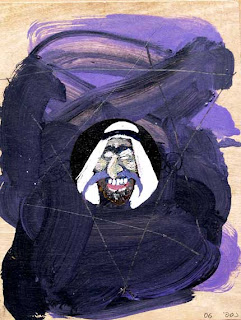 an Arab with a Purple Mustache Israeli art Magen David