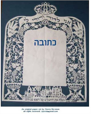 Magen David appers on a paper cut Ketubah