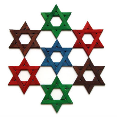 six wood Stars of David