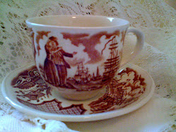 My Husbands precious Grandmother gave us the dishes that go with this teacup, they are just Lovely