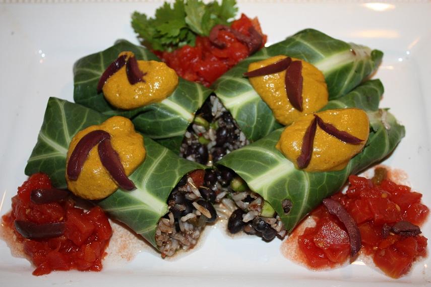 Vegan Epicurean: Black Bean and Brown Rice Burrito in a Collard Leaf ...