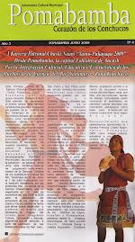Nota Publicada en el Informativo Cultural Municipal POMABAMBA, Año 3 - Junio 2009 - N° 4.