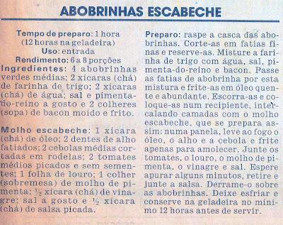 RECEITA DE ABOBRINHAS ESCABECHE