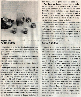 RECEITAS DE PORTA COPOS EM CROCHE