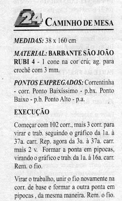 RECEITA DE CAMINHO DE MESA EM CROCHÊ