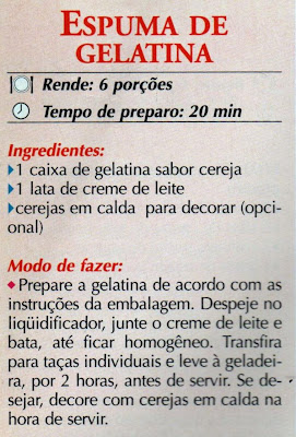 RECEITA DE ESPUMA DE GELATINA