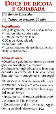 RECEITA DE DOCE DE RICOTA COM GOIABADA