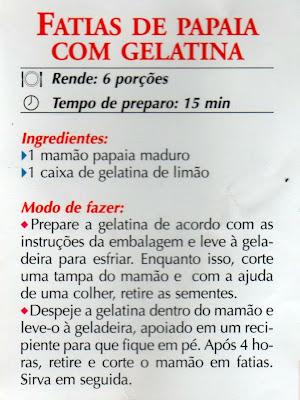 FATIAS DE PAPAIA COM GELATINA