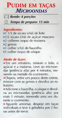 RECEITA DE PUDIM EM TAÇAS