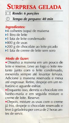 RECEITA DE DOCE SURPRESA GELADA