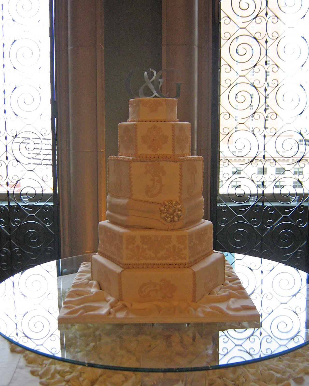 Sublime Bakery Elegant Ivory Hexagonal Wedding Cake with
