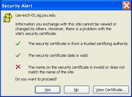 Security Certificate alert when signing into Outlook 2010