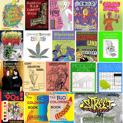 above: a few of the adult coloring books now available on the market
