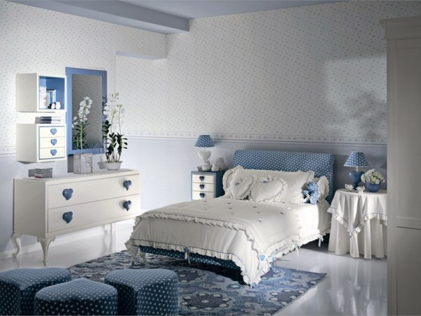 Modern And Beautiful Heart Theme Teen Girls Bedroom Decorating Ideas
