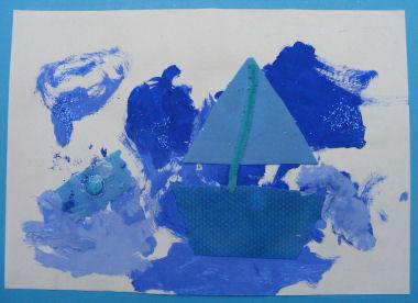 Ciao bambini collage blu primi lavoretti per l 39 estate for Lavoretti estate scuola dell infanzia