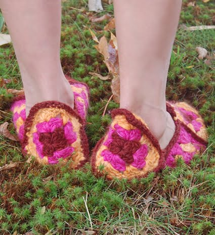 Crochet Pattern For Granny Square Slippers : More Fun With An Apron: Granny Square Slippers