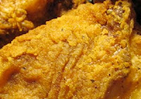 Closeup of fried chicken skin.