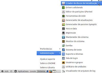 ubuntu usb1 Gravação do CD, Criação do disco de Instalação USB e Instalação do Ubuntu