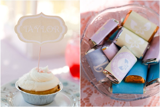 mini pie with name tag topper & mini chocolates wrapped in butterfly paper