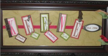 Last Name, Name Frame - $25.00 - Contact us for ordering at:  3dnameframes@bellsouth.net