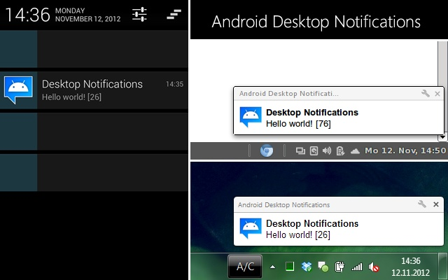 Android Desktop Notifications