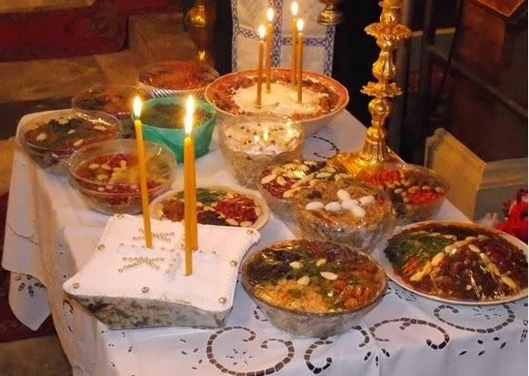 stół zaduszny, misy koliwy na zadusznym stole