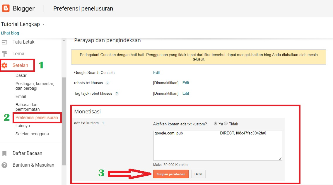 cara pasang file ads.Txt di blog blogspot
