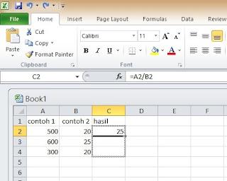 Rumus Membagi di Ms Excel