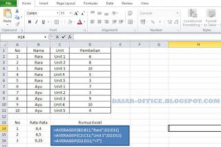 Rumus Rata-Rata di Ms. Excel