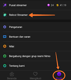 rekrut streamer nimo tv