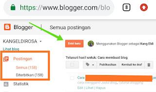 cara membuat postingan atau artikel di blogspot