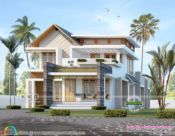 Front view rendering of mixed roof house