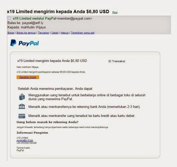 Bukti Pembayaran dari situs adfly di tahun 2015