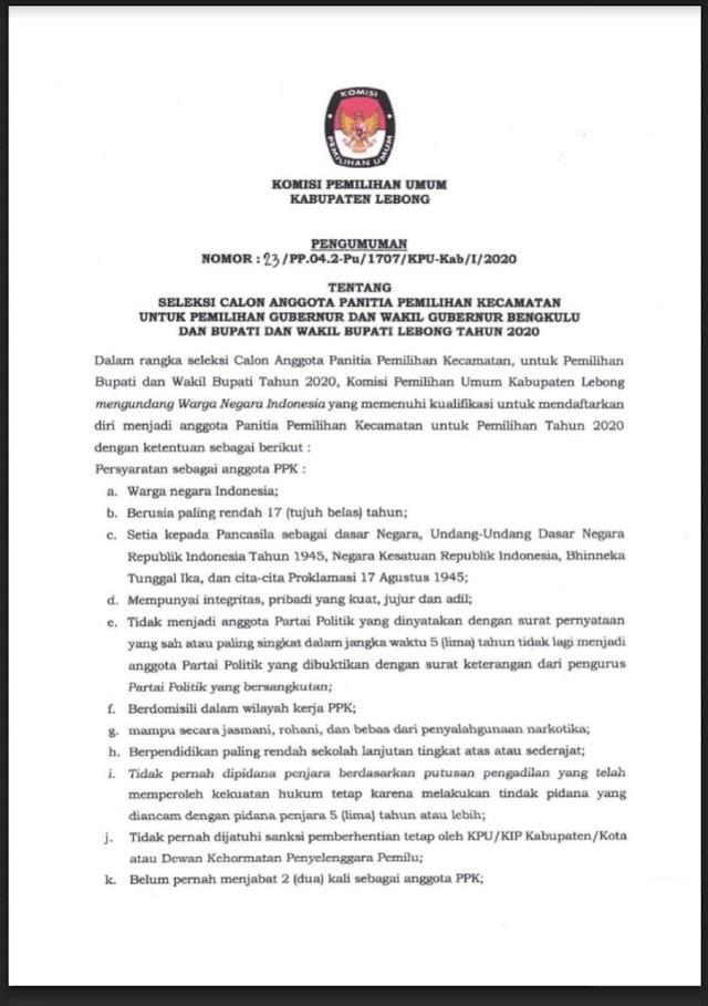 Buruan Daftar Calon Anggota PPK Lebong