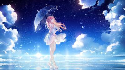HD wallpaper Anime Girl Umbrella Sky Clouds Stars