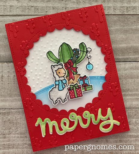 Jaded Blossom and Lawn Fawn Cactus and Llama Card